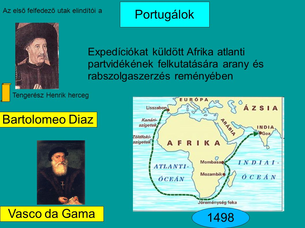 Portugálok Bartolomeo Diaz Vasco da Gama 1498