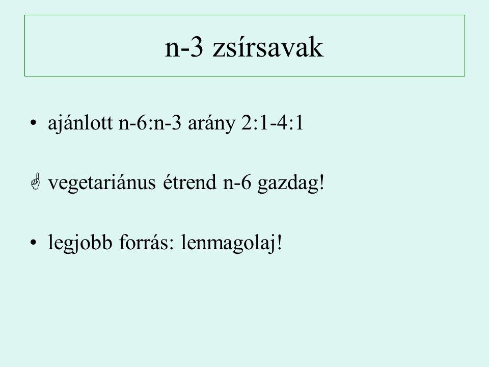 n-3 zsírsavak ajánlott n-6:n-3 arány 2:1-4:1