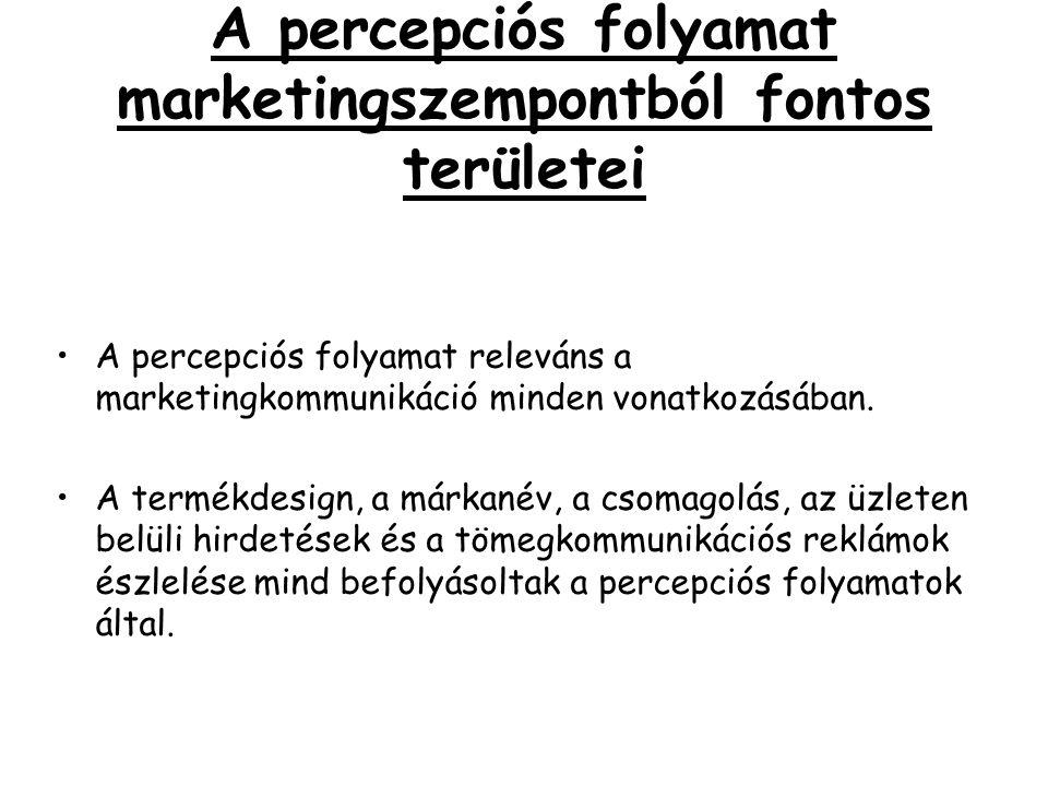 A percepciós folyamat marketingszempontból fontos területei