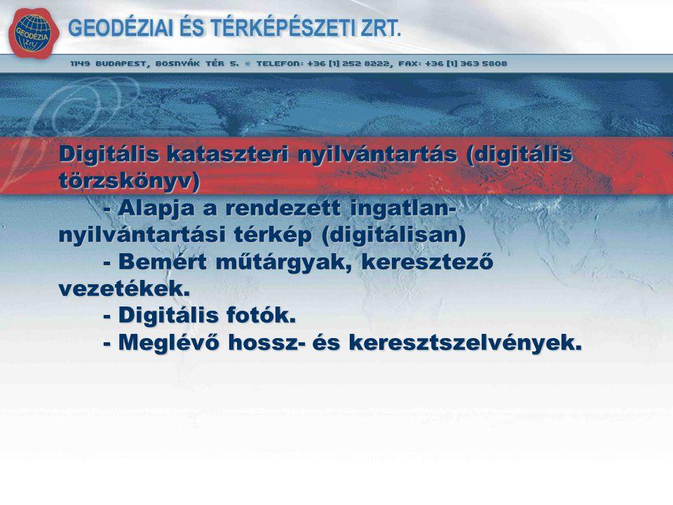 Digitális kataszteri nyilvántartás (digitális törzskönyv) - Alapja a rendezett ingatlan-nyilvántartási térkép (digitálisan) - Bemért műtárgyak, keresztező vezetékek.