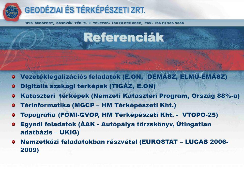 Referenciák Vezetéklegalizációs feladatok (E.ON, DÉMÁSZ, ELMŰ-ÉMÁSZ)