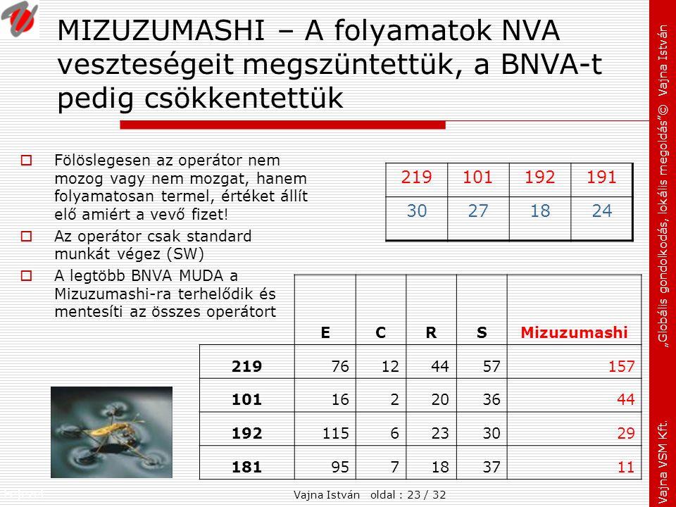 MIZUZUMASHI – A folyamatok NVA veszteségeit megszüntettük, a BNVA-t pedig csökkentettük