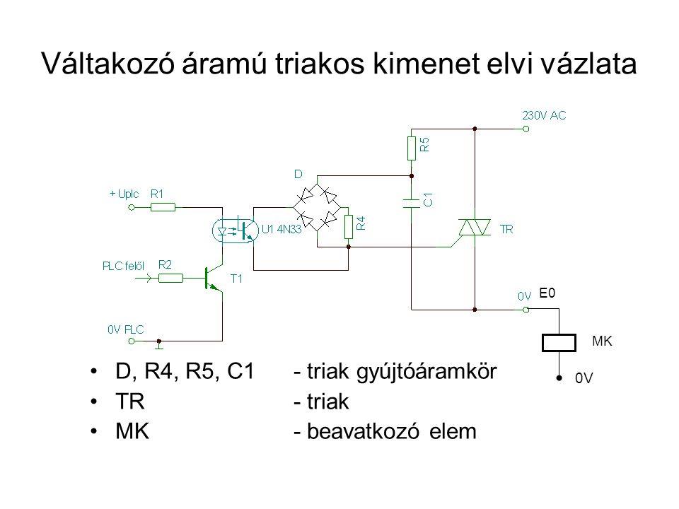 Váltakozó áramú triakos kimenet elvi vázlata