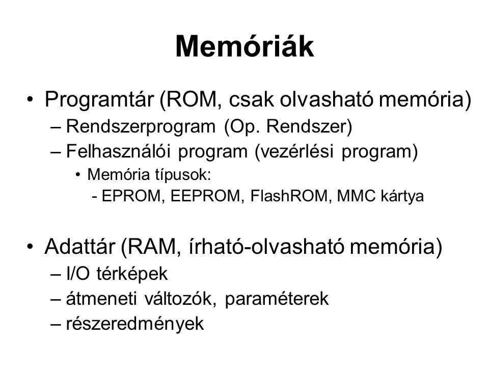 Memóriák Programtár (ROM, csak olvasható memória)