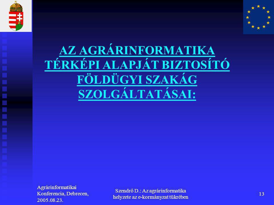 Szendrő D.: Az agrárinformatika helyzete az e-kormányzat tükrében