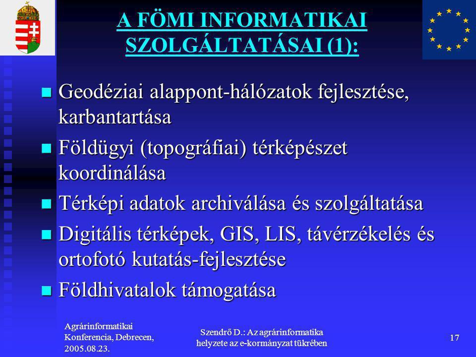 A FÖMI INFORMATIKAI SZOLGÁLTATÁSAI (1):