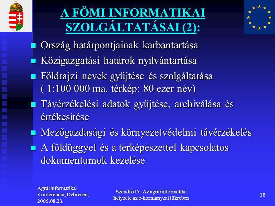 A FÖMI INFORMATIKAI SZOLGÁLTATÁSAI (2):
