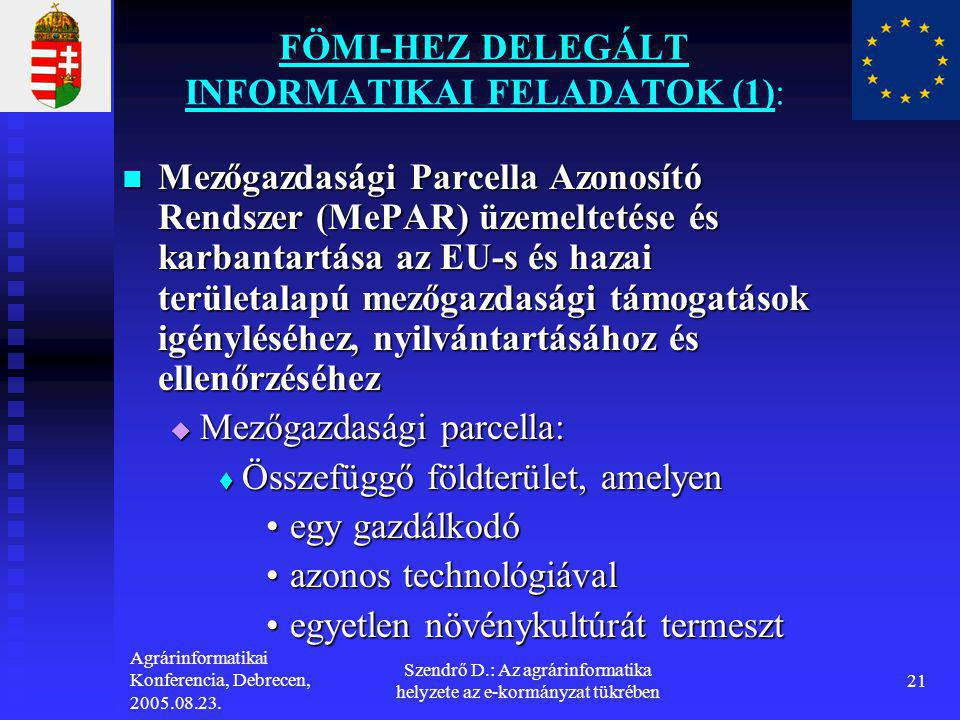 FÖMI-HEZ DELEGÁLT INFORMATIKAI FELADATOK (1):