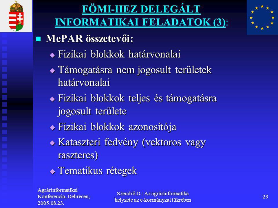FÖMI-HEZ DELEGÁLT INFORMATIKAI FELADATOK (3):