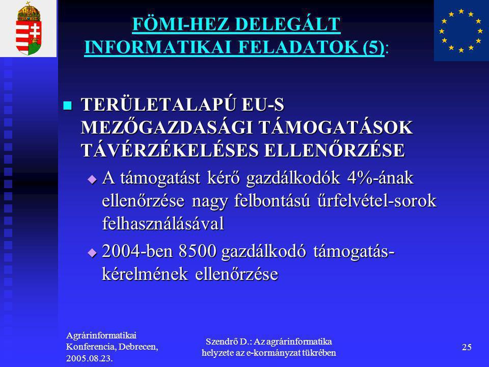 FÖMI-HEZ DELEGÁLT INFORMATIKAI FELADATOK (5):