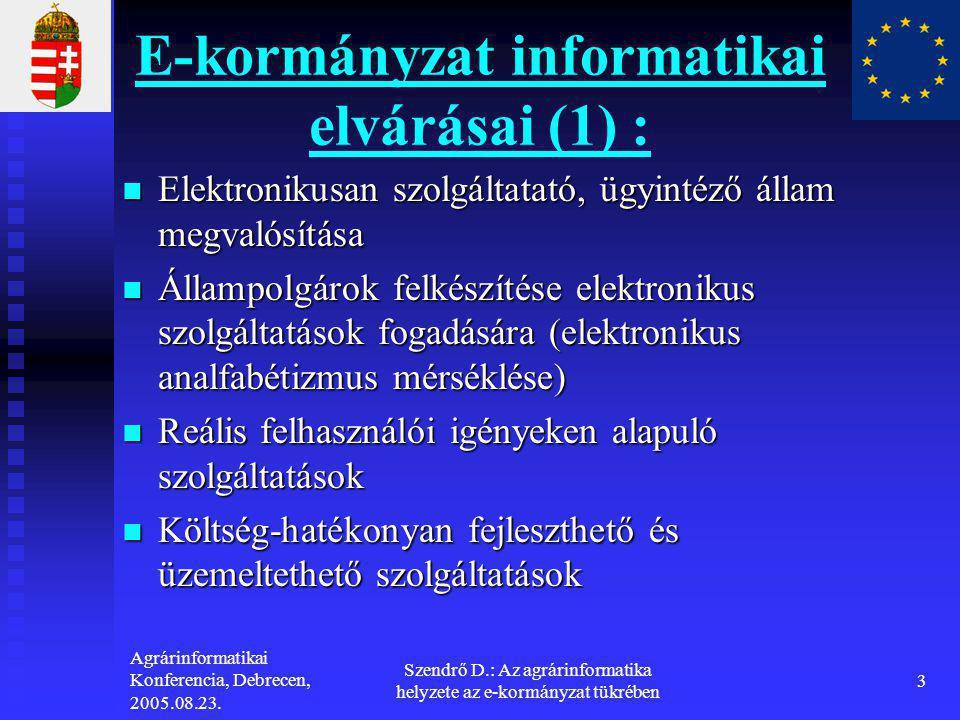 E-kormányzat informatikai elvárásai (1) :