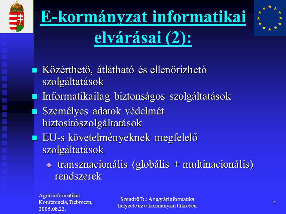 E-kormányzat informatikai elvárásai (2):