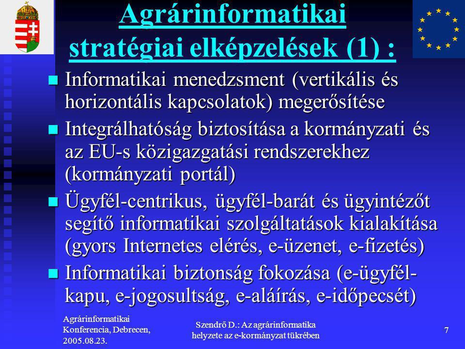 Agrárinformatikai stratégiai elképzelések (1) :