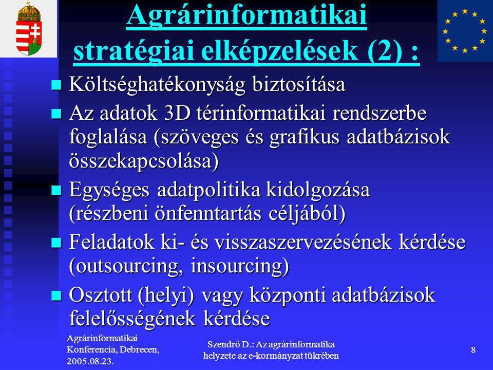 Agrárinformatikai stratégiai elképzelések (2) :