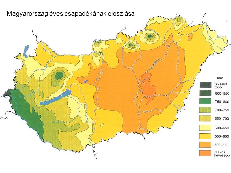 Magyarország éves csapadékának eloszlása