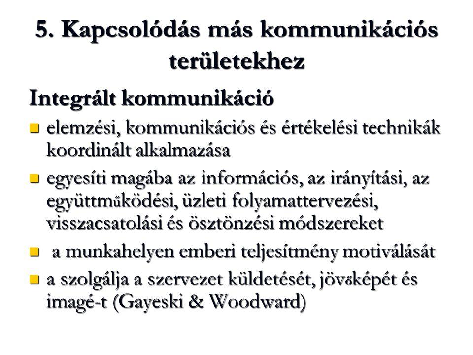 5. Kapcsolódás más kommunikációs területekhez