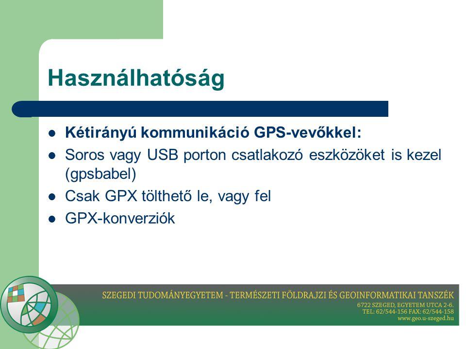 Használhatóság Kétirányú kommunikáció GPS-vevőkkel: