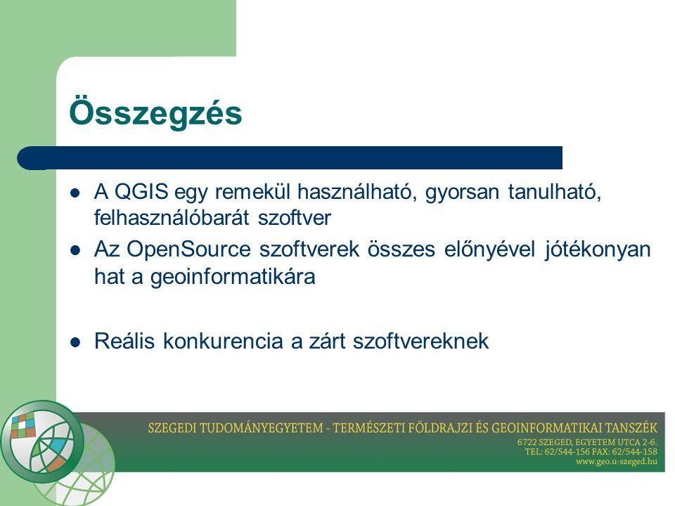 Összegzés A QGIS egy remekül használható, gyorsan tanulható, felhasználóbarát szoftver.