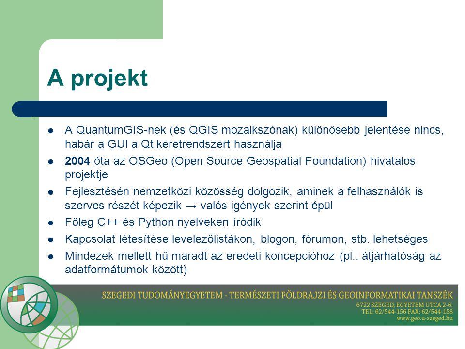 A projekt A QuantumGIS-nek (és QGIS mozaikszónak) különösebb jelentése nincs, habár a GUI a Qt keretrendszert használja.