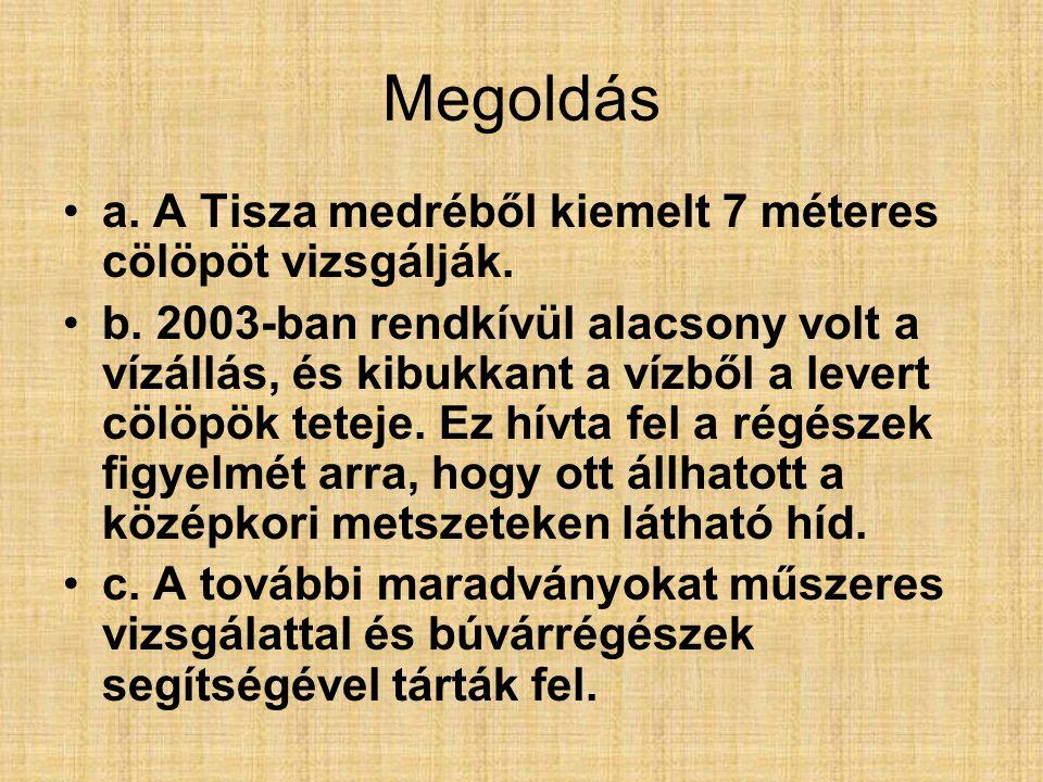Megoldás a. A Tisza medréből kiemelt 7 méteres cölöpöt vizsgálják.
