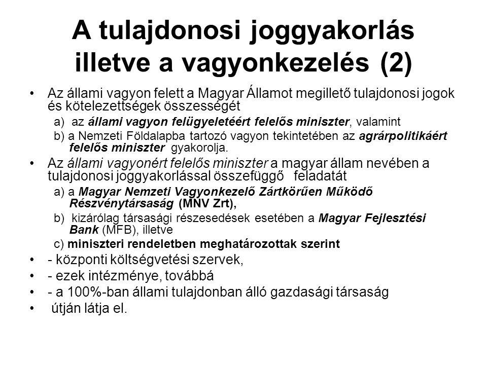 A tulajdonosi joggyakorlás illetve a vagyonkezelés (2)