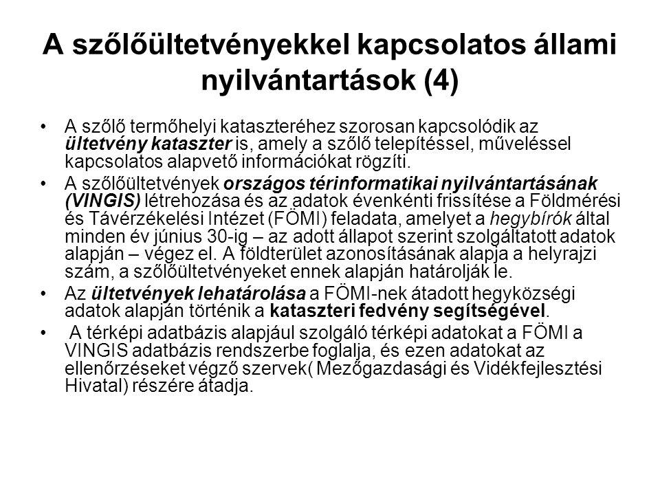 A szőlőültetvényekkel kapcsolatos állami nyilvántartások (4)