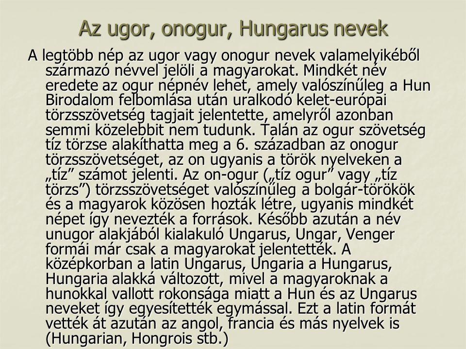 Az ugor, onogur, Hungarus nevek