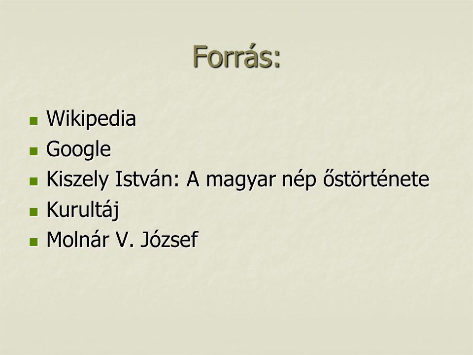 Forrás: Wikipedia Google Kiszely István: A magyar nép őstörténete