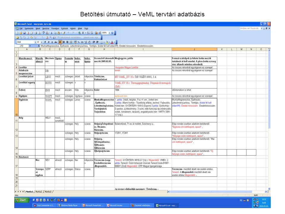 Betöltési útmutató – VeML tervtári adatbázis