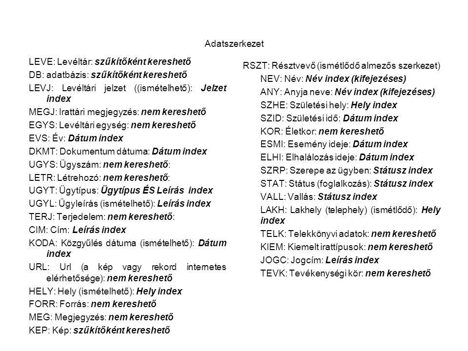 Adatszerkezet LEVE: Levéltár: szűkítőként kereshető. DB: adatbázis: szűkítőként kereshető. LEVJ: Levéltári jelzet ((ismételhető): Jelzet index.