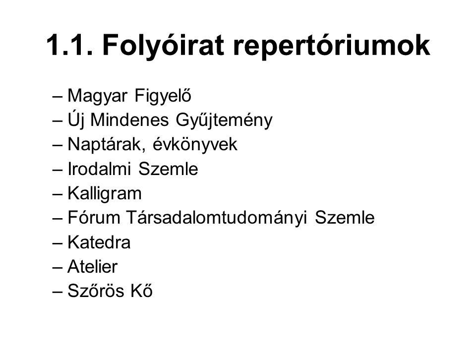 1.1. Folyóirat repertóriumok