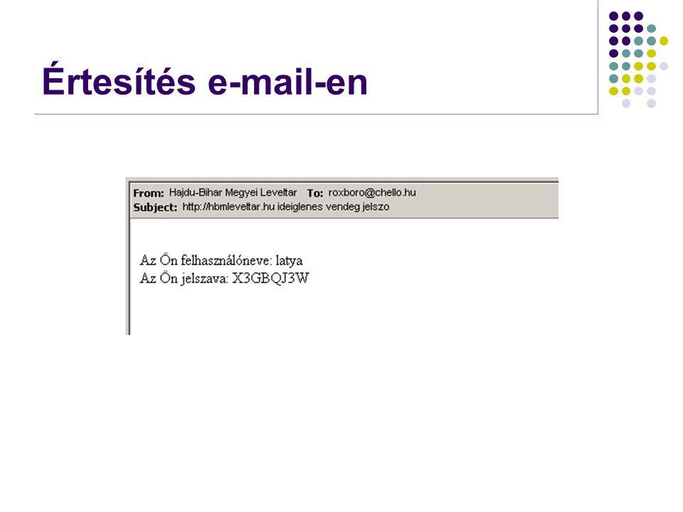 Értesítés e-mail-en