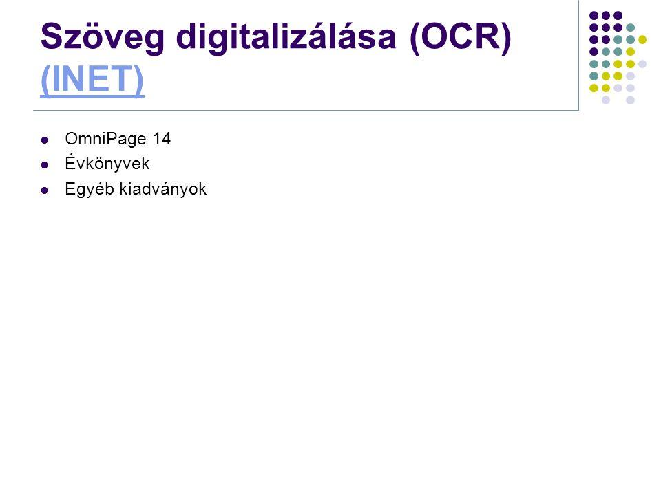 Szöveg digitalizálása (OCR) (INET)