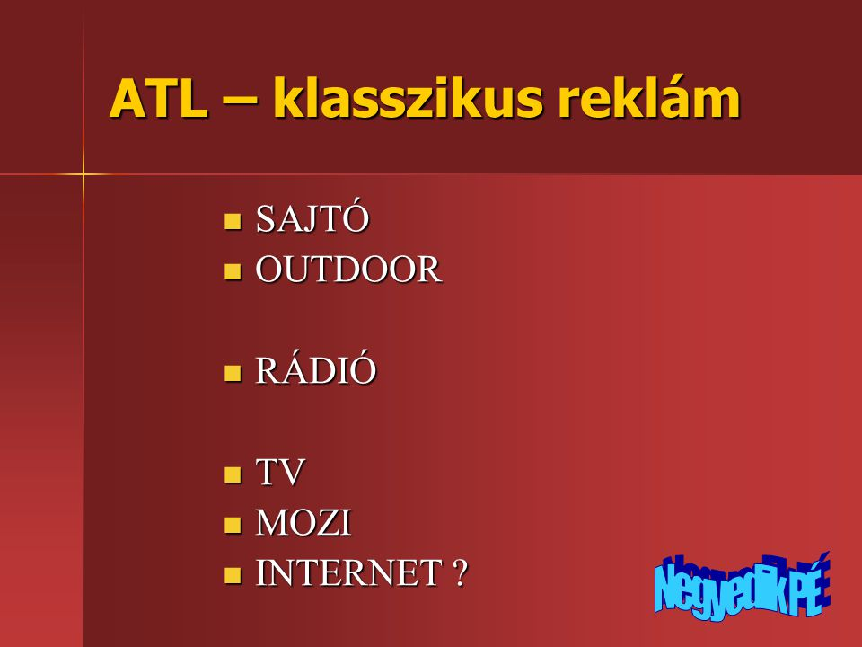 ATL – klasszikus reklám