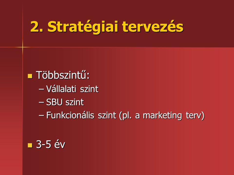 2. Stratégiai tervezés Többszintű: 3-5 év Vállalati szint SBU szint