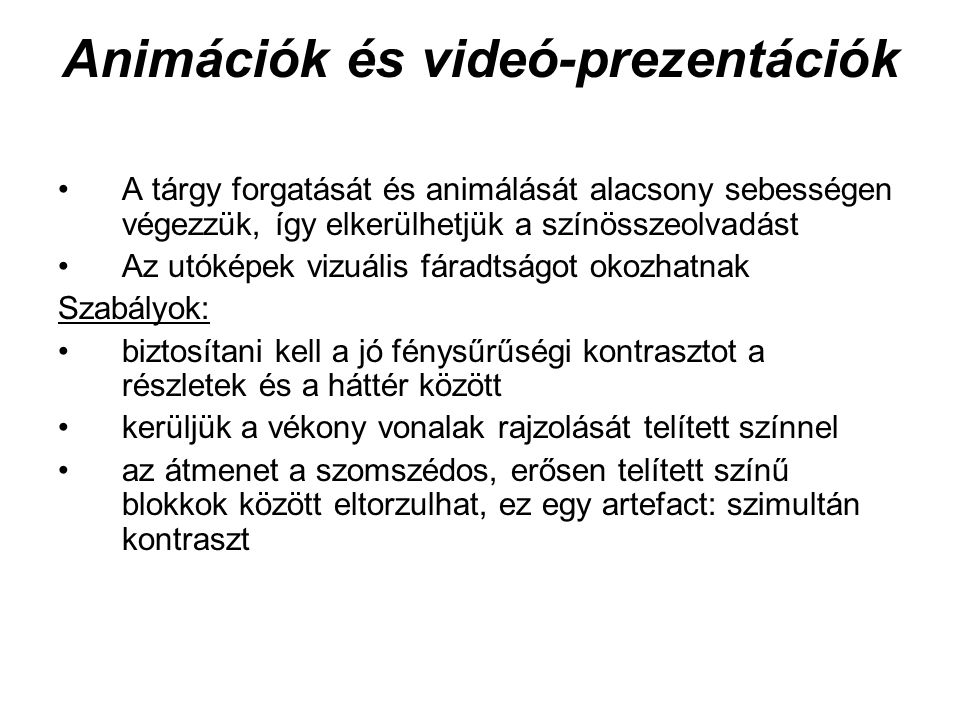 Animációk és videó-prezentációk