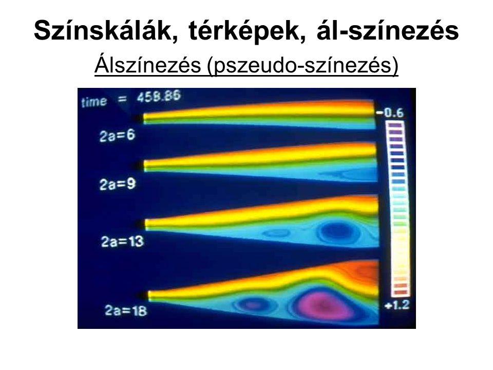 Színskálák, térképek, ál-színezés Álszínezés (pszeudo-színezés)
