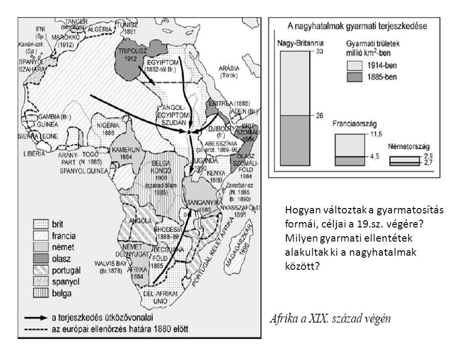 Hogyan változtak a gyarmatosítás formái, céljai a 19.sz. végére
