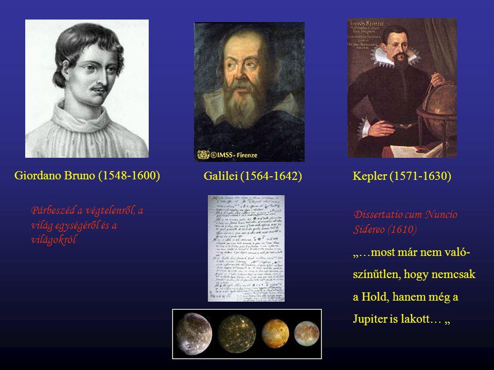 Giordano Bruno (1548-1600) Galilei (1564-1642) Kepler (1571-1630) Párbeszéd a végtelenről, a világ egységéről és a világokról.