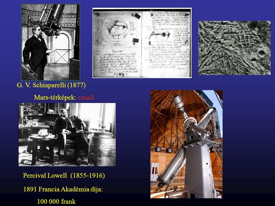 G. V. Schiaparelli (1877) Mars-térképek: canali. Percival Lowell (1855-1916) 1891 Francia Akadémia díja: