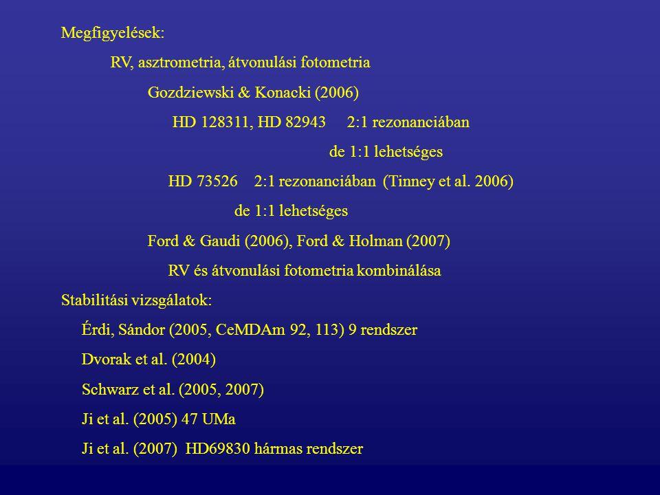 Megfigyelések: RV, asztrometria, átvonulási fotometria. Gozdziewski & Konacki (2006) HD 128311, HD 82943 2:1 rezonanciában.