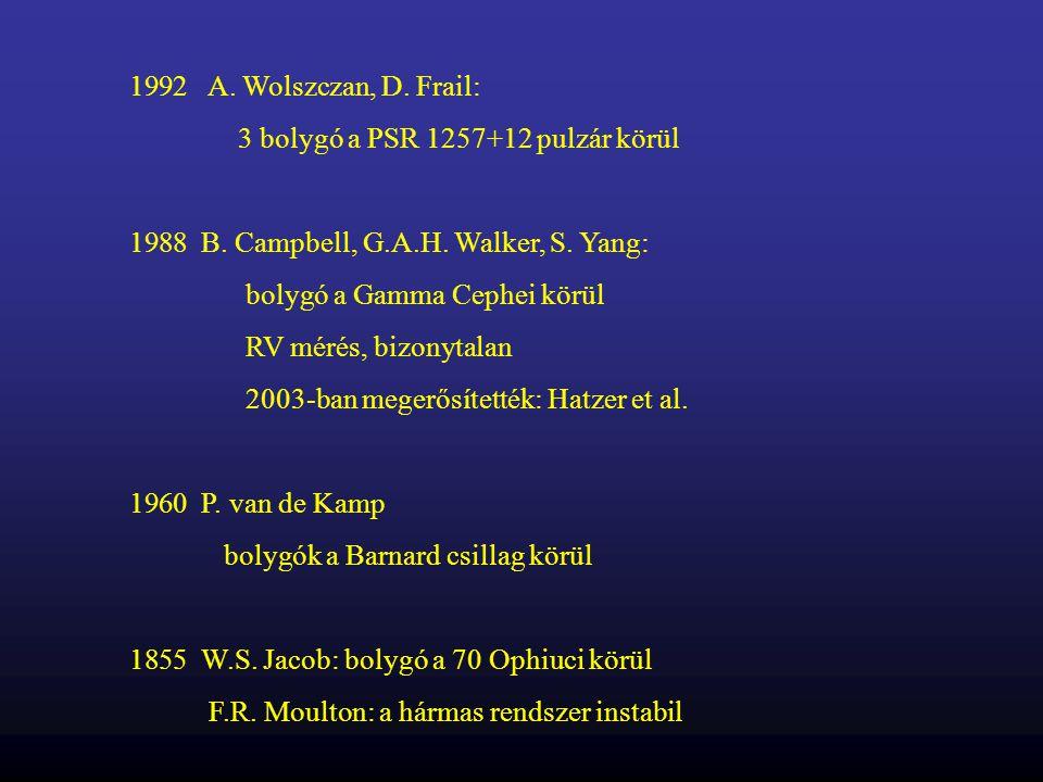 A. Wolszczan, D. Frail: 3 bolygó a PSR 1257+12 pulzár körül. B. Campbell, G.A.H. Walker, S. Yang: bolygó a Gamma Cephei körül.