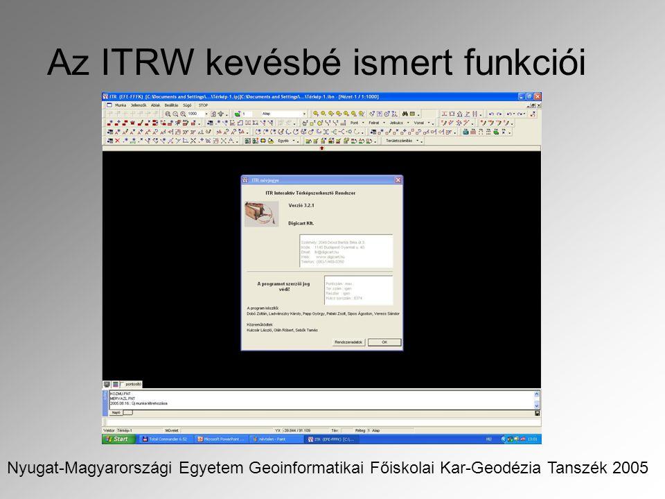 Az ITRW kevésbé ismert funkciói