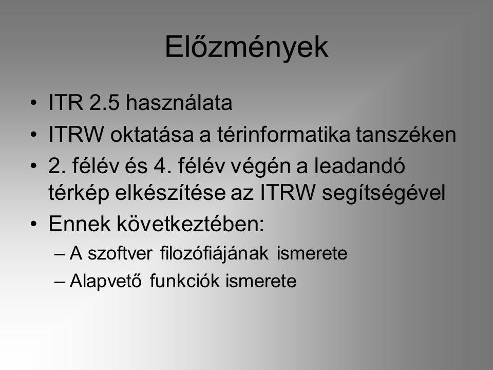 Előzmények ITR 2.5 használata ITRW oktatása a térinformatika tanszéken