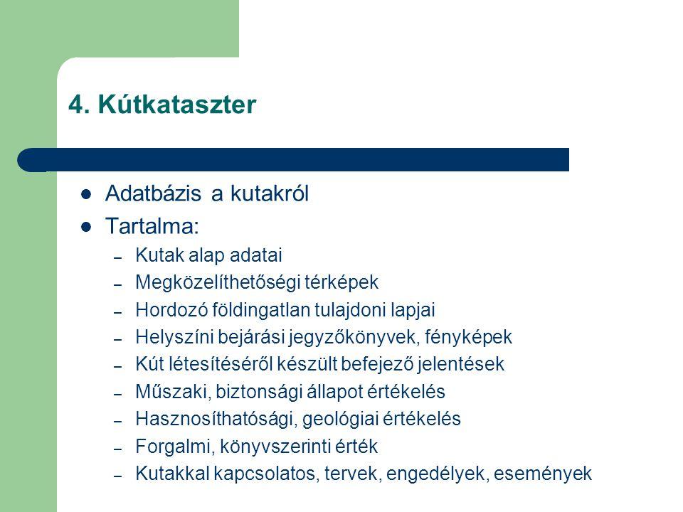 4. Kútkataszter Adatbázis a kutakról Tartalma: Kutak alap adatai