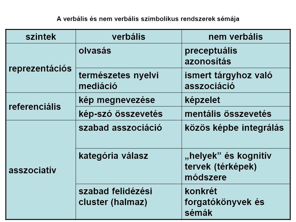 A verbális és nem verbális szimbolikus rendszerek sémája