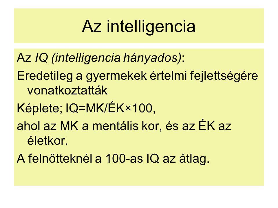 Az intelligencia Az IQ (intelligencia hányados):