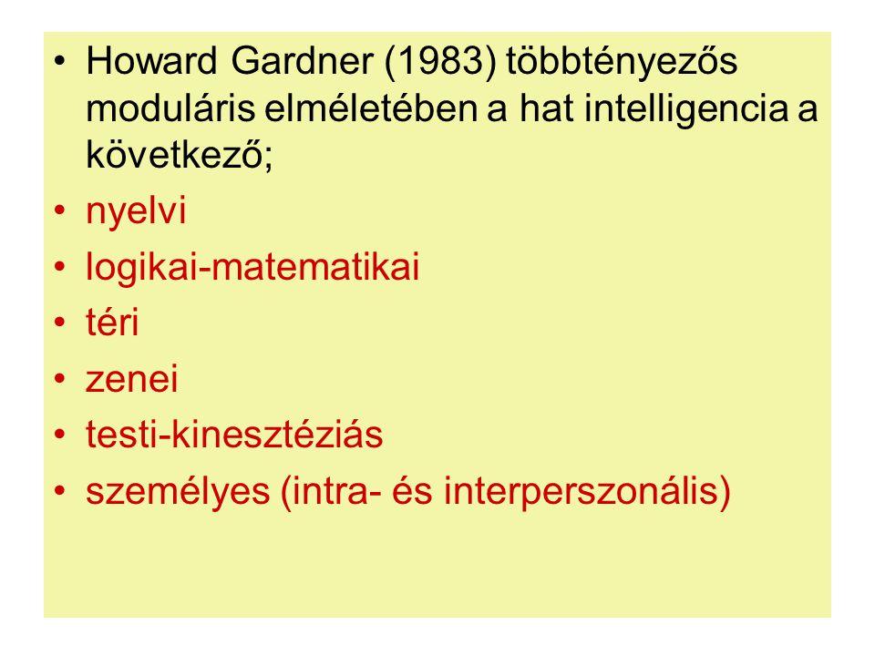 Howard Gardner (1983) többtényezős moduláris elméletében a hat intelligencia a következő;