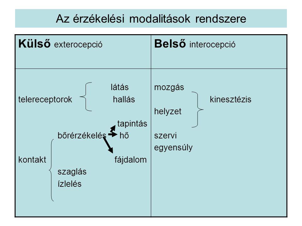 Az érzékelési modalitások rendszere