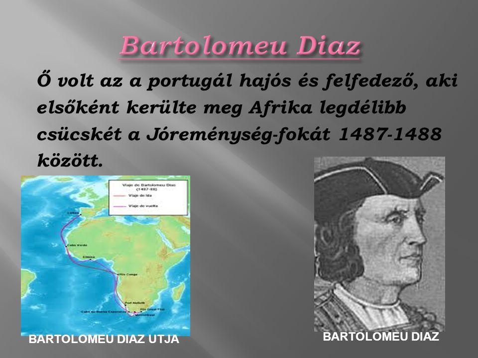 Bartolomeu Diaz Ő volt az a portugál hajós és felfedező, aki elsőként kerülte meg Afrika legdélibb csücskét a Jóreménység-fokát 1487-1488 között.